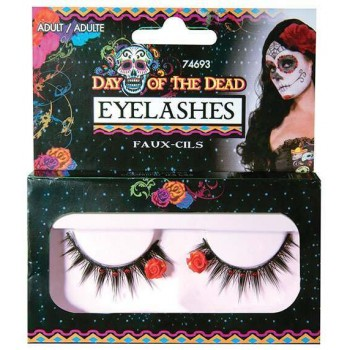 Ladies Day Of The Dead Eyelashes Halloween Fancy Dress Accessory