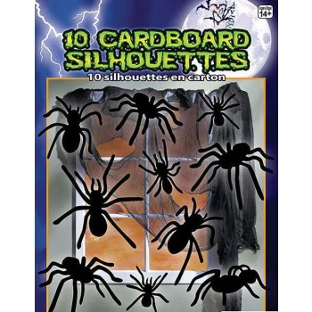 Silhouette Shadow Spiders 10pc Halloween Decoration