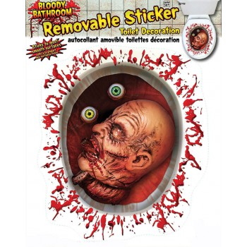 Toilet Seat Cut Off Head Removable Sticker Halloween Decoration