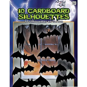 Silhouette Shadow Bats 10pc Halloween Decoration.