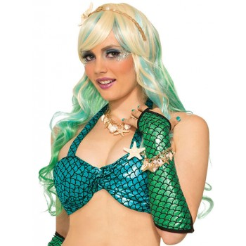 Ladies Turquoise Mermaid Bikini Top Fancy Dress Item