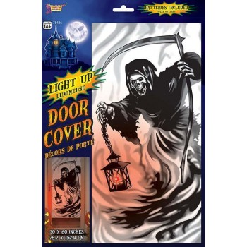 Light Up Grim Reaper Door Cover Halloween Decoration.