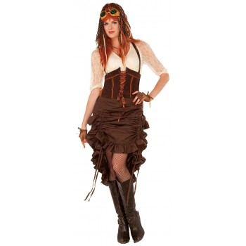 Ladies Brown Steampunk Skirt Fancy Dress Costume