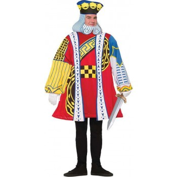 Mens King Of Hearts Playing Card Fancy Dress Costume