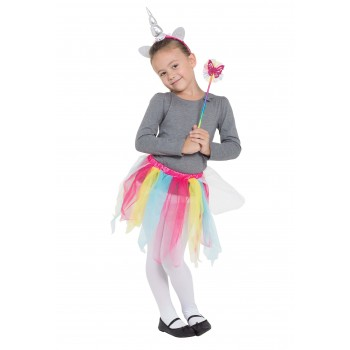 Rainbow Unicorn Tutu Headband and Wand set fancy dress