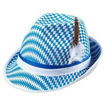 Oktoberfest Bavarian National Flag Fedora W/Feather Dec
