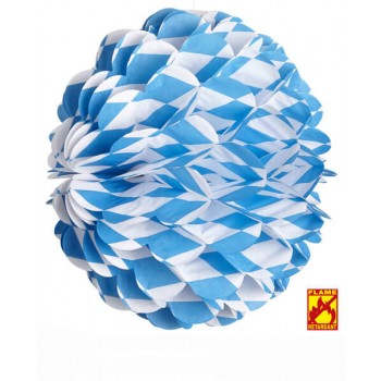 Blue & White Bavarian Honeycomb Globe 28cm Fancy Dress Decoration