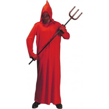 Mens Devil- (Hooded Robe W/Mask) Halloween Outfit (Red)