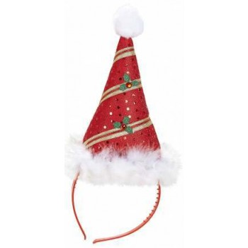 Festive Mini Red/Green Santa Hat With Marabou Trim