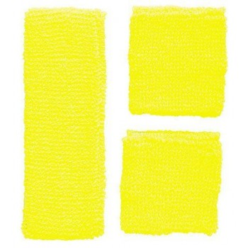 Sweatband Set Neon Yellow 80's Fancy Dress Accessory
