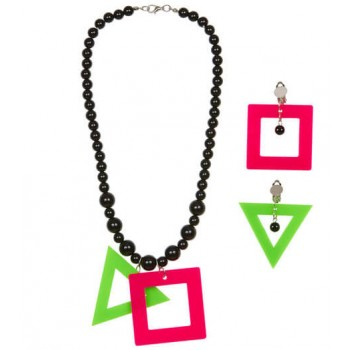 Ladies 80'S Neon Shapes Necklace & Earrings Set Fancy Dress Accessory