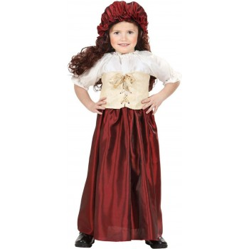 Girls Peasant Girl (Dress Corset Hat) Tudor Outfit - (Red)
