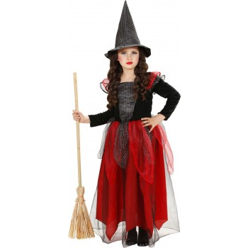 Girls Witch - Black/Burgundy Halloween Outfit - (Black, Purple)