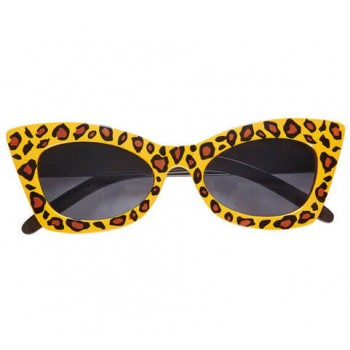 Adults 50's Leopard Rockabilly Glasses Fancy Dress Accessory