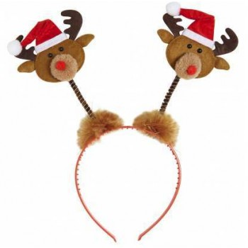 Festive Reindeers With Santa Hats Head Boppers