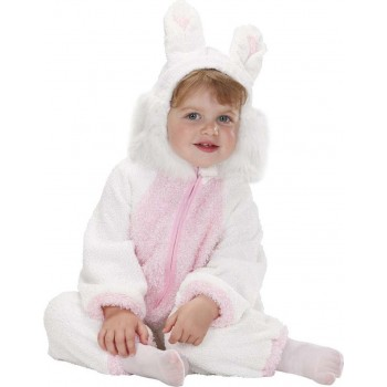 Toddler Fuzzy Bunny Baby Animal Outfit - (White, Pink)