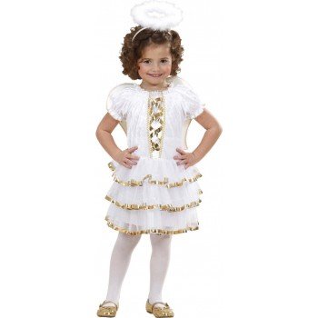 Girls Glam Angel (Dress Wings Halo) Angel Outfit - (White)
