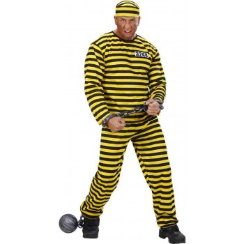 Mens Convict Costumes- Yellow/Black Cops/Robbers (Black, Yellow)