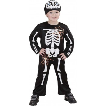 Boys Lil' Skeleton (Jumpsuit Hat) Halloween Outfit - (Black)