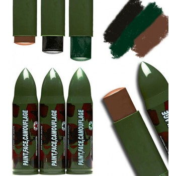 Camoflage Face Paint Sticks (Bullet Shape) In Black/Brown/Green Fancy Dress Makeup