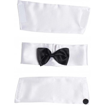 Mens Male Stripper Kit (Collar W/Bowtie Cuffs) - (White)