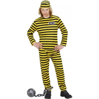 Boys Convict Costume Black/Yellow Cops/Robbers - (Black, Yellow)