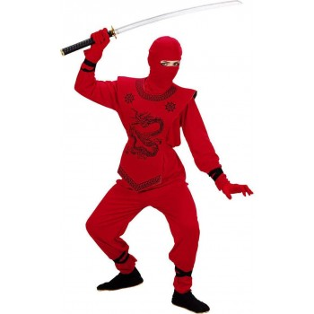 Boys Red Ninja Costume Ninja Outfit - (Red)