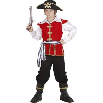 Boys Pirate Captain Costume Pirates Outfit - (Red,White)