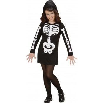 Girls Glam Skeleton Girl (Hooded Dress) Halloween -