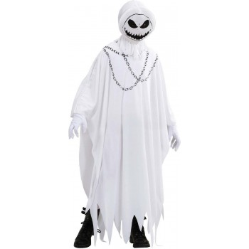 Boys Evil Ghost (Robe Hooded Mask) Halloween Outfit - (White)