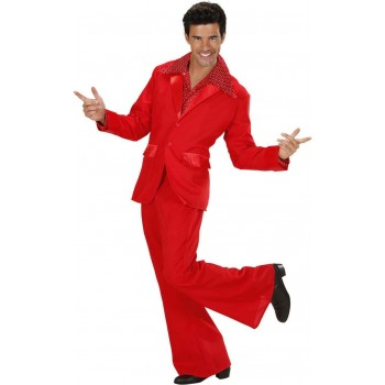 Mens Red Party Suits- (Jacket Pants) Disco Outfit (Red)