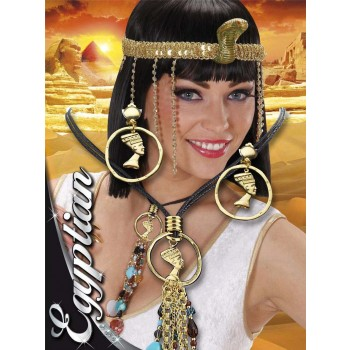 Ladies Cleopatra Necklace & Earring Set Jewellery - (Multicolour)