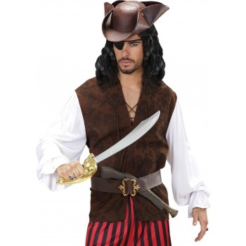 Mens Pirate Shirts With Vest Pirates Outfit - (Brown, White)