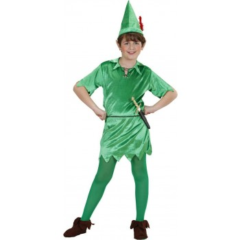 Boys Peter (Tunic Belt Hat) Fairy Tales Outfit - (Green)