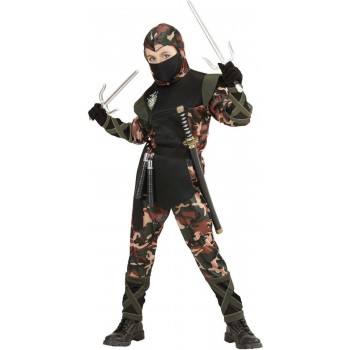 Boys Ninja Soldier (Hooded Coat Pants Belt Mask) Army -