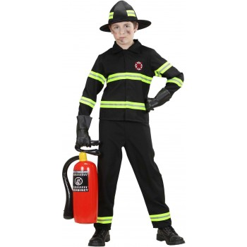 Boys Firefighter (Coat Pants Helmet) Fire Service - (Black)