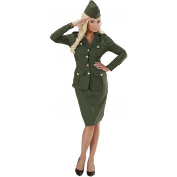 Ladies Ww2 Soldier Girl- (Jacket Skirt Hat) Army Outfit - (Green)