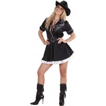 Ladies Rodeo Girl- (Dress W/Petticoat Belt) Rodeo Outfit - (Black)