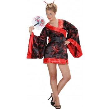 Ladies Madame Butterfly Oriental Outfit - (Black, Red)