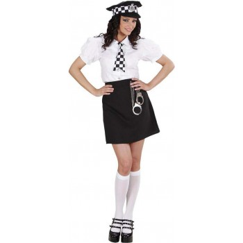 Ladies British Police Girl Cops/Robbers Outfit - (Black, White)