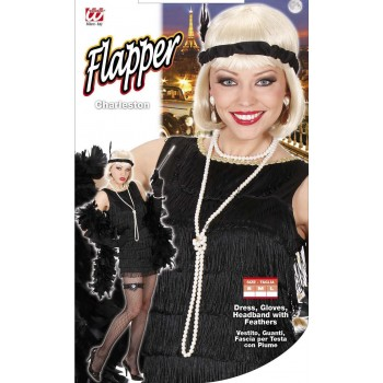 Ladies Deluxe Black Flapper 1920'S Outfit - (Black)