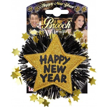 Gold Happy New Year Brooches Jewellery - (Gold)