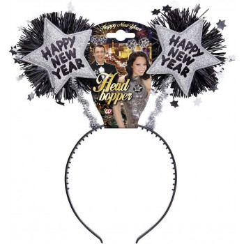Silver Happy New Year Head Boppers Accessories - (Silver)