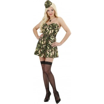 Ladies Army Girl- (Corset Skirt Hat) Army Outfit - (Green)