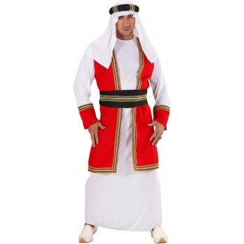Mens Arab Prince- (Robe W/Vest Belt Hat) Arab Outfit (White, Red)