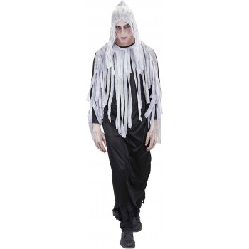 Mens Ghoul- (Hooded Robe Belt) Halloween Outfit (Black, White)