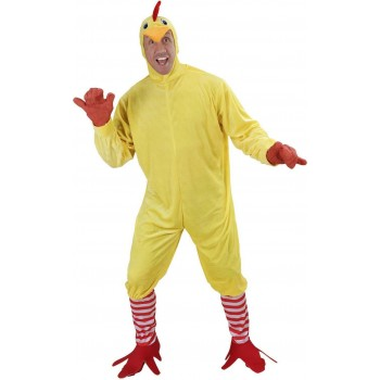 Mens Chicken- (Jumpsuit Feet Mask) Animal Outfit (Yellow)