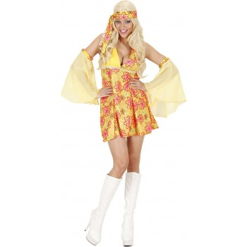 Ladies 70S Girl - Yellow- (Dress Sleeves) Hippy Outfit - (Yellow)