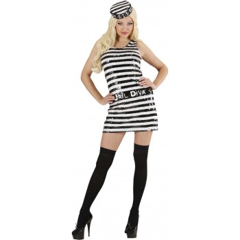 Ladies Convict- (Dress Hat) Cops/Robbers Outfit - (Black, White)