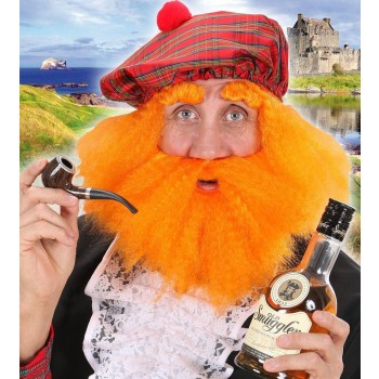 Scottish Hat With Wig, Beard & Eyebrows - Fancy Dress (Animals)